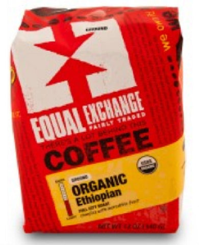 Equal Exchange Organic Coffee, Ethiopian, Beans, 12 Ounces, 3 Pack