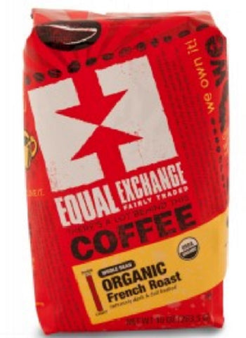 Equal Exchange Organic Coffee, French Roast, Beans, 10 Ounces, 3 Pack