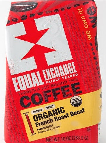 Equal Exchange Organic Coffee, French Roast Decaf, 10 Ounces, 3 Pack