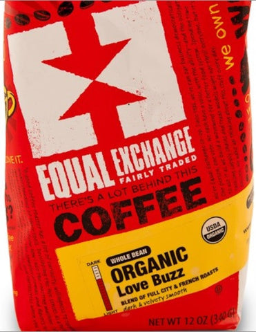 Equal Exchange Organic Coffee, Love Buzz, Beans, 12 Ounces, 3 Pack