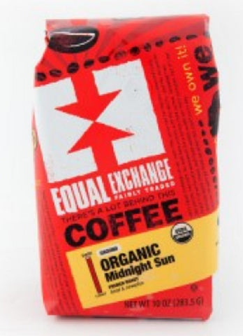 Equal Exchange Organic Coffee, Midnight Sun, Ground, 10 Ounces, 3 Pack