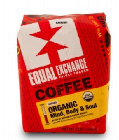 Equal Exchange Organic Coffee, Mind Body & Soul, Ground, 12 Ounces