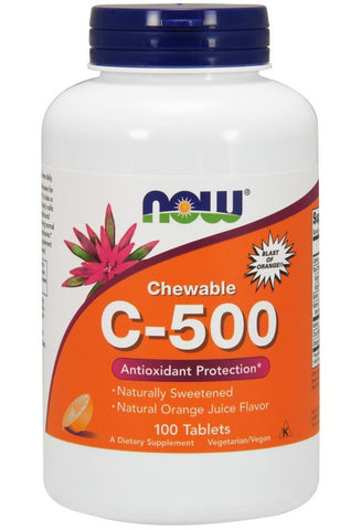 NOW FOODS, VITAMIN C-500 ORANGE CHEWABLE, 100 LOZENGES
