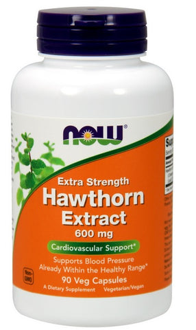 NOW FOODS HAWTHORN EXTRACT, DOUBLE STRENGTH, 600 MG, 90 VEG CAPS
