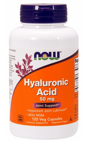 NOW FOODS HYALURONIC ACID WITH MSM, 50 MG, 120 VEG CAPS