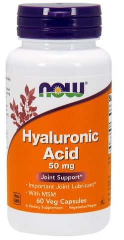 NOW FOODS HYALURONIC ACID WITH MSM, 50 MG, 60 VEG CAPS