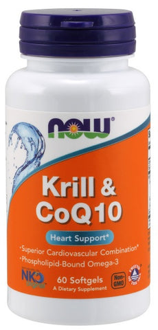 NOW FOODS KRILL & COQ10, 60 SOFTGELS