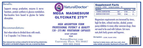 Natural Doctor, Mega Magnesium Glycinate 275, 120 Veg Capsules