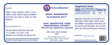 Natural Doctor, Mega Magnesium Glycinate 275, 180 Veg Capsules