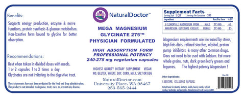 Natural Doctor, Mega Magnesium Glycinate 275, 240 Veg Capsules