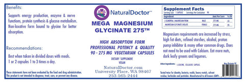 Natural Doctors, Mega Magnesium Glycinate 275, 90 Veg Capsules
