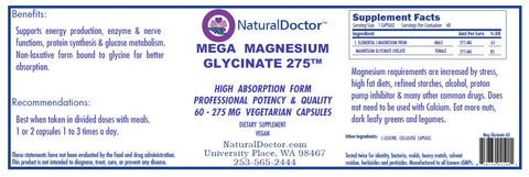 Natural Doctor, Mega Magnesium Glycinate 275, 60 Veg Capsules