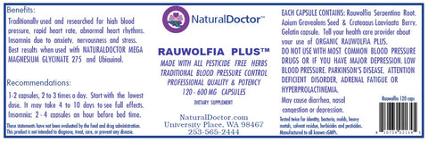 NaturalDoctor  Rauwolfia Plus  600 mg  120 Caps
