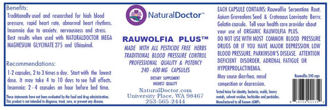 NaturalDoctor  Rauwolfia Plus  600 mg  240 Caps