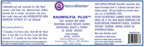 NaturalDoctor Rauwolfia Plus  600 mg 60 Caps