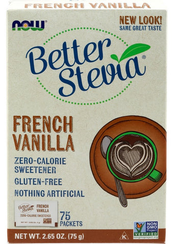 NOW FOODS, BETTER STEVIA, FRENCH VANILLA, 75 PACKETS, 6 PACK