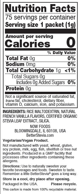 NOW FOODS, BETTER STEVIA, FRENCH VANILLA, 75 PACKETS, 1 BOX – Natural Doctor