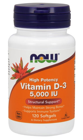 NOW FOODS VITAMIN D3 5000IUs, 120 SOFTGELS