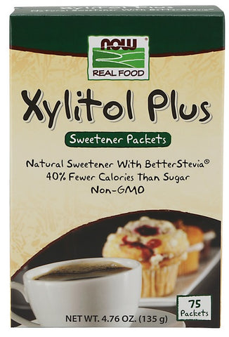 NOW FOODS, XYLITOL PLUS STEVIA, 75 PACKETS, 3  PACK