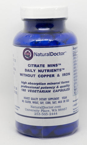 NaturalDoctor, Citrate Mins Daily Nutrients Without Copper & Iron, 180  VegCaps
