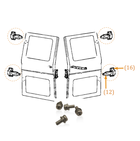 Ambulance Door Hinge | Marine Grade Stainless | Pan Head | FJ40, Stainless Hardware JIS - Overland Metric