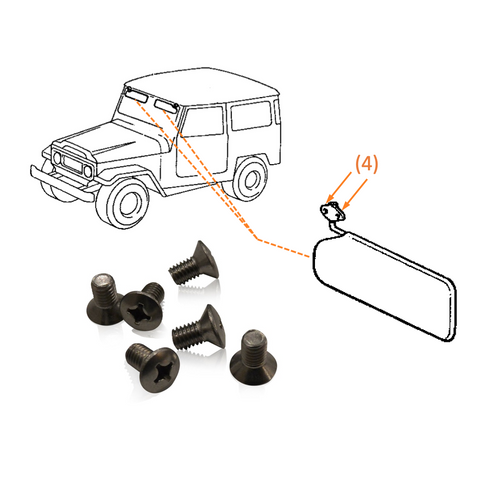 Sun Visor to Windshield | Marine Grade Stainless Screw Kit | Toyota Land Cruiser FJ40, Stainless Hardware JIS - Overland Metric