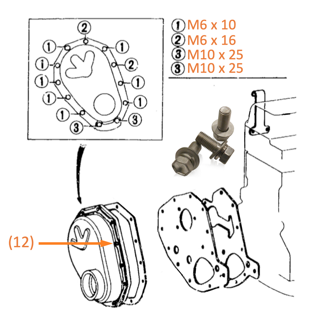 Timing Gear Cover | Marine Grade Stainless Hardware & Bolt Kit | Toyota Land Cruiser 2F FJ40, Stainless Hardware JIS - Overland Metric