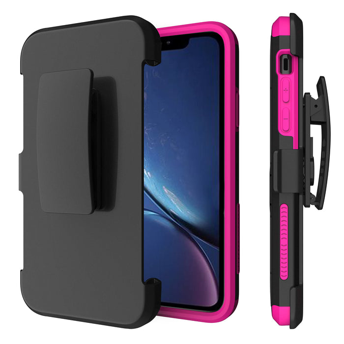 Apple iPhone Xs Case [Pink Silicon/ Max Defense][USA Flag]