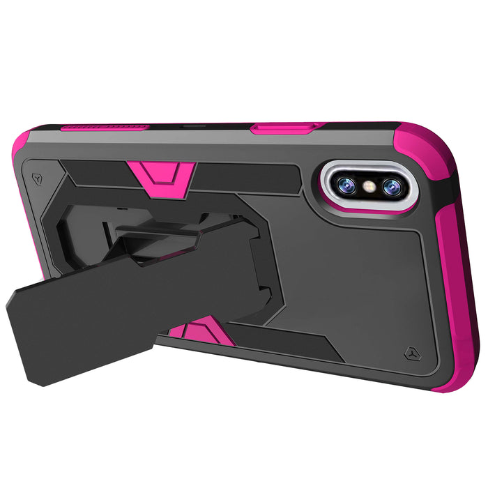 Apple iPhone Xs Case [Pink Silicon/ Max Defense][Purple Galaxy]