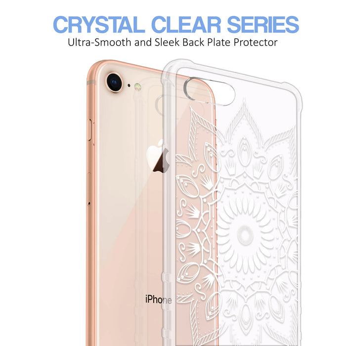 Apple iPhone 8 Case [Ultra Clear][Black Mandala]