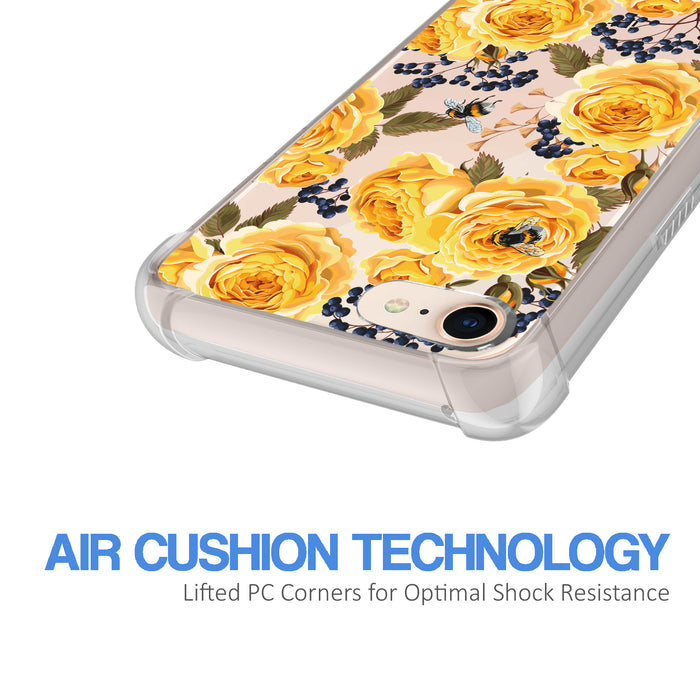 Apple iPhone 7 Case [Ultra Clear][Bumble Bee Roses]
