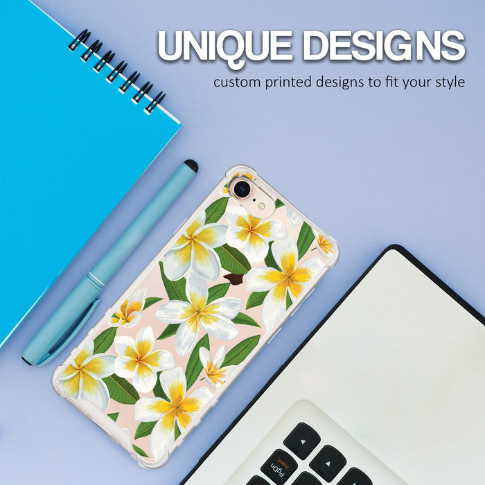 Apple iPhone 8 Case [Ultra Clear][White Hawaiian Flowers]