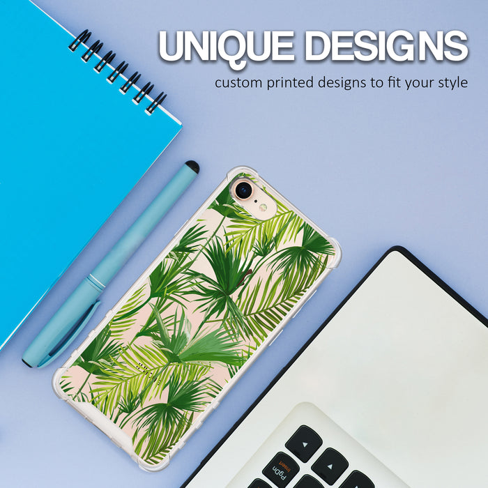 Apple iPhone 8 Case [Ultra Clear][Green Leaves]