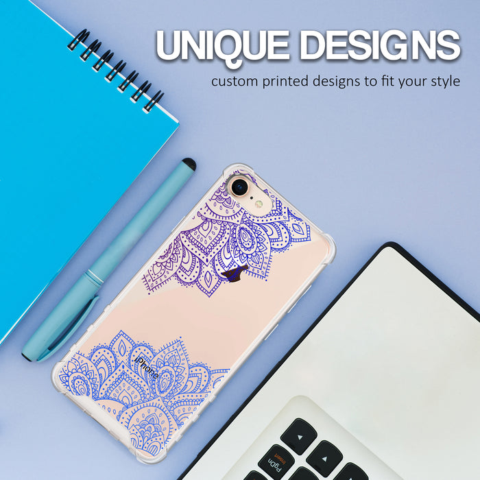 Apple iPhone 7 Case [Ultra Clear][Blue Mandala]