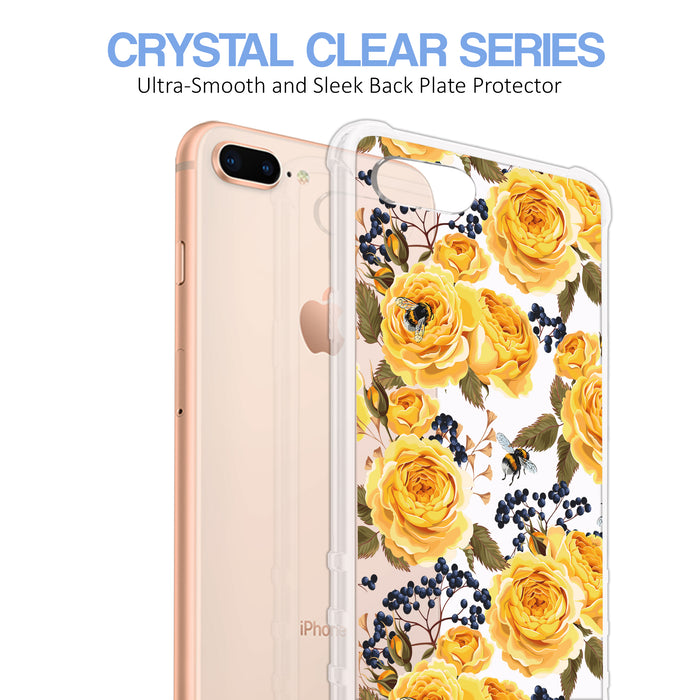 Apple iPhone 8 Plus Case [Ultra Clear][Bumble Bee Roses]