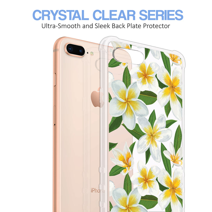 Apple iPhone 8 Plus Case [Ultra Clear][White Hawaiian Flowers]
