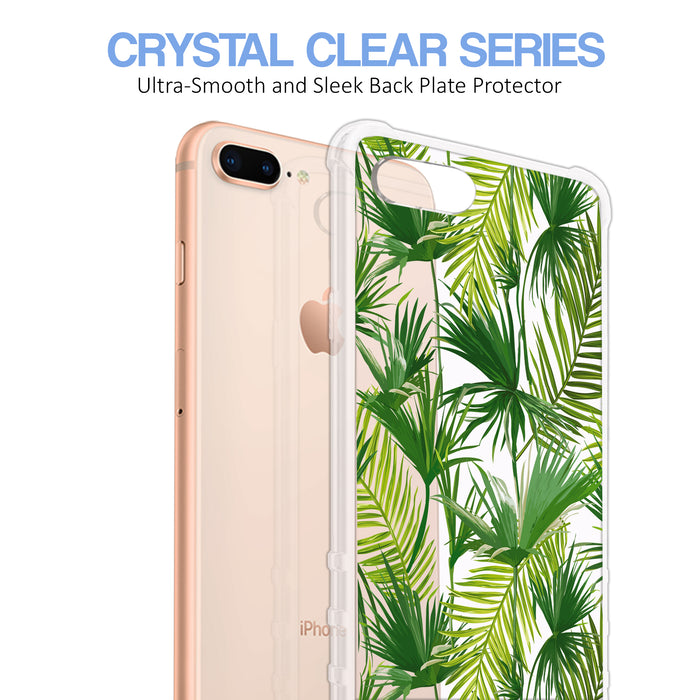 Apple iPhone 7 Plus Case [Ultra Clear][Green Leaves]