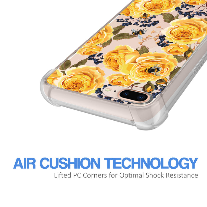 Apple iPhone 7 Plus Case [Ultra Clear][Bumble Bee Roses]