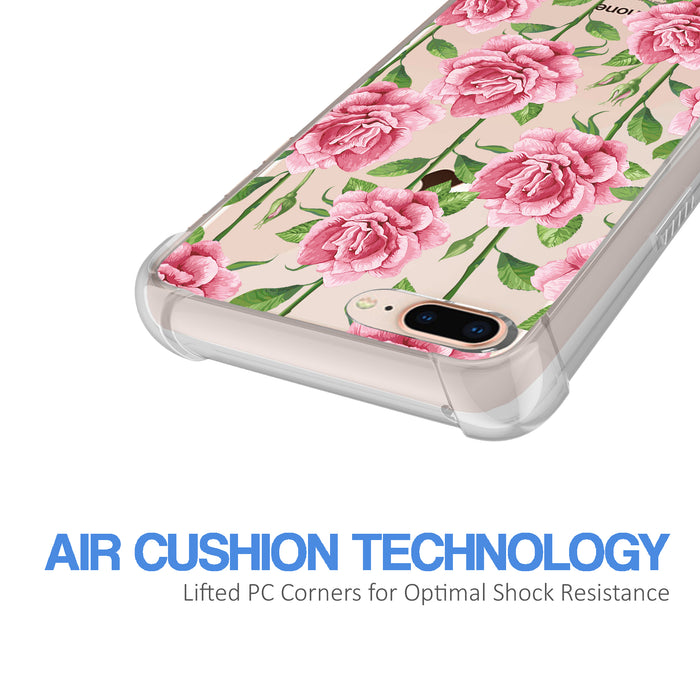 Apple iPhone 8 Plus Case [Ultra Clear][Pink Vine Flower]