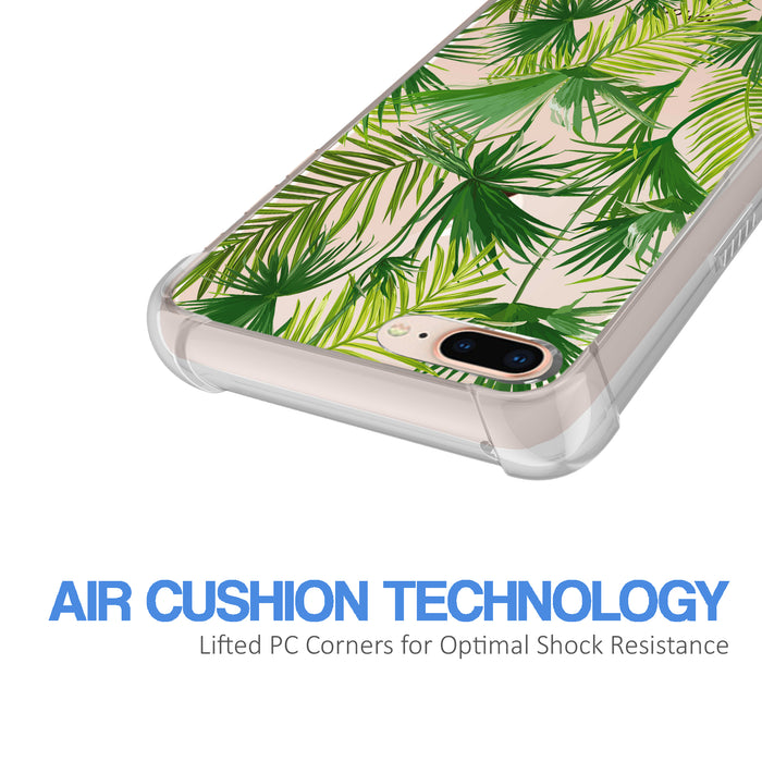 Apple iPhone 8 Plus Case [Ultra Clear][Green Leaves]