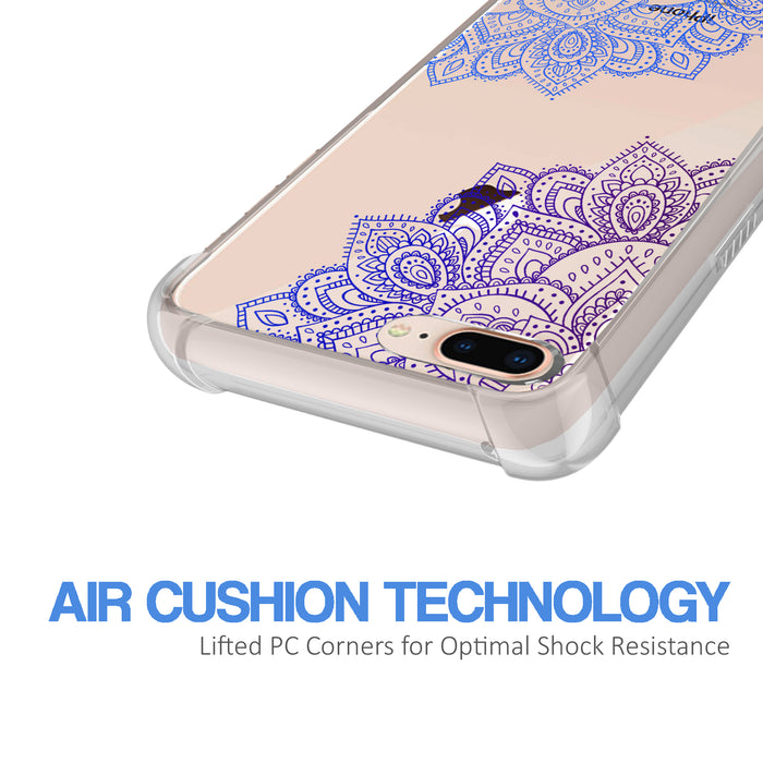 Apple iPhone 8 Plus Case [Ultra Clear][Blue Mandala]