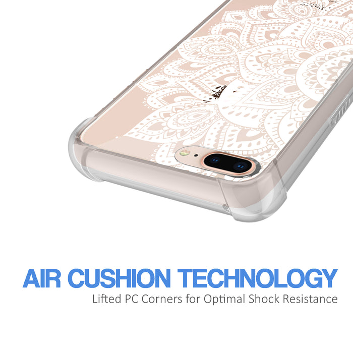 Apple iPhone 7 Plus Case [Ultra Clear][White Mandalas]