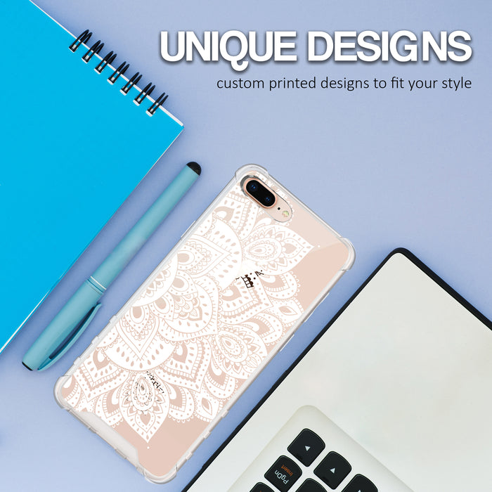 Apple iPhone 8 Plus Case [Ultra Clear][White Mandalas]