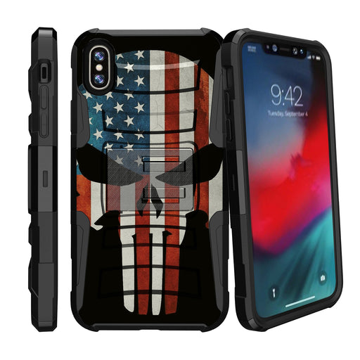 Apple iPhone 9 Case [Holster][USA Flag Skull]