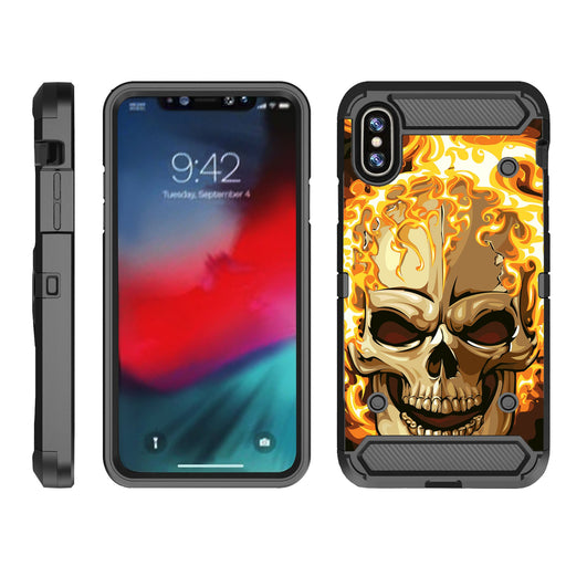 Apple iPhone 9  Case [Max Guard][Red Fire Skull]