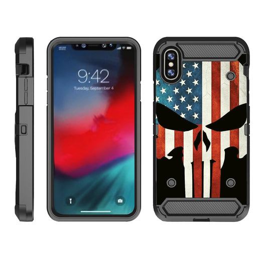 Apple iPhone 9  Case [Max Guard][USA Flag Skull]