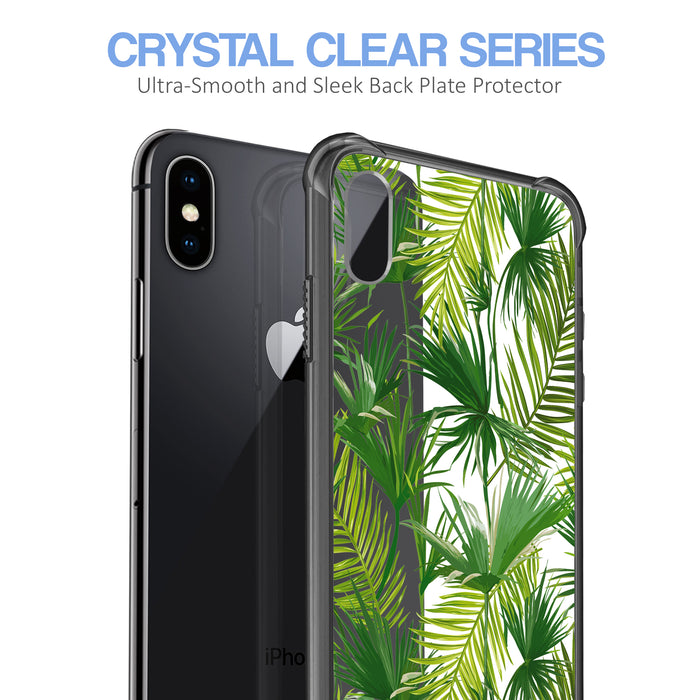 Apple iPhone X Case [Clear/ Grey Bumper][Green Leaves]