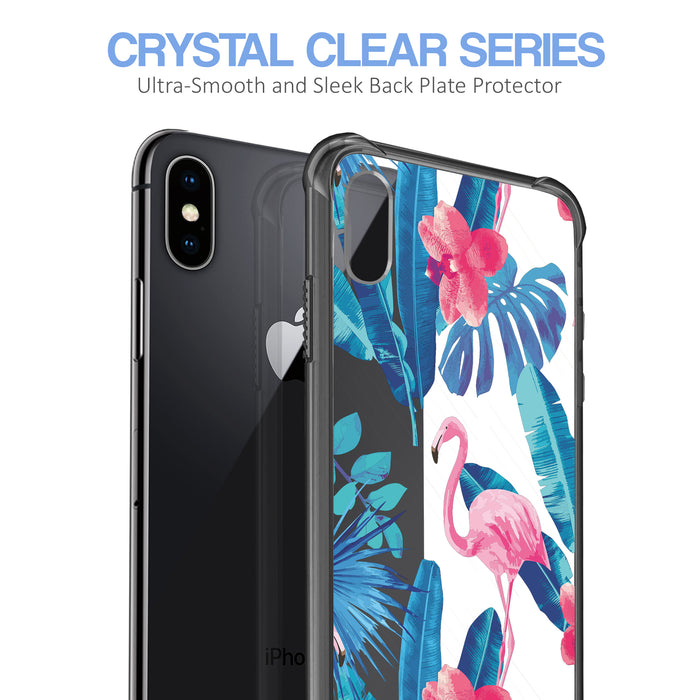 Apple iPhone X Case [Clear/ Grey Bumper][Flamingos]