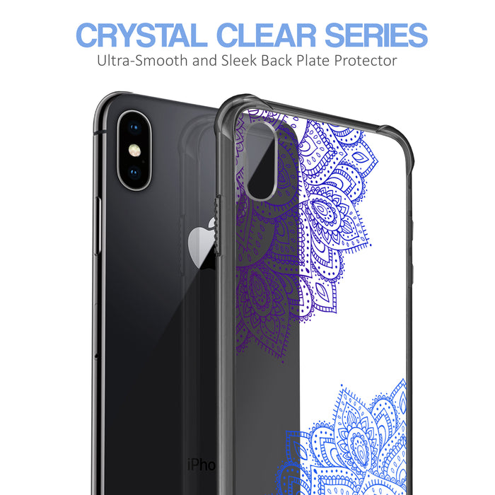 Apple iPhone X Case [Clear/ Grey Bumper][Blue Mandala]