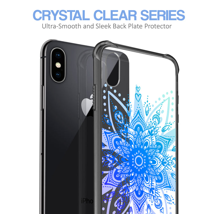 Apple iPhone X Case [Clear/ Grey Bumper][Heart Mandala]